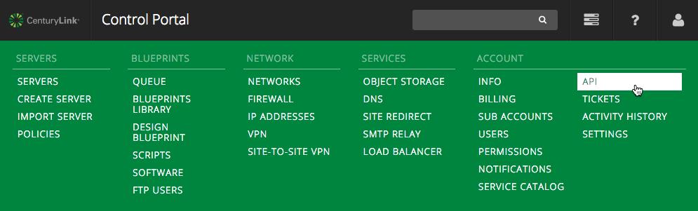 Control Portal Menu - API