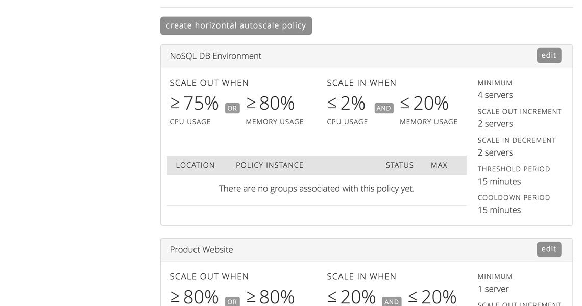 Manage multiple Autoscale policies on our Cloud Platform.