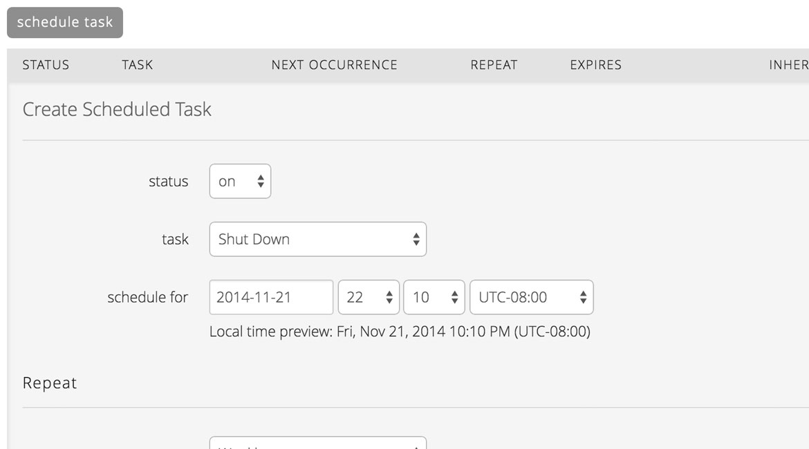 Create Scheduled Tasks to minimize manual cloud management effort.