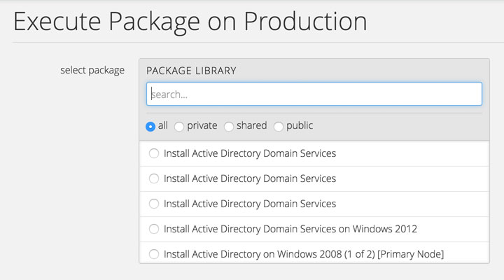 Browse a library of Packages available on CenturyLink Cloud Platform.