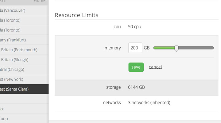 CPU, memory, storage and networks resource limits