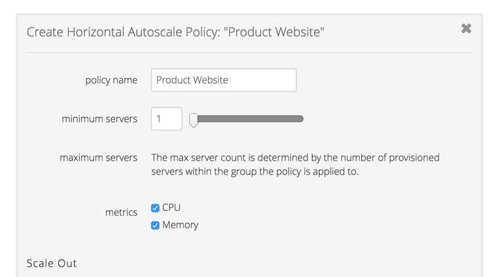 Horizontal Autoscale automatically increases the number of cloud servers based on set policies