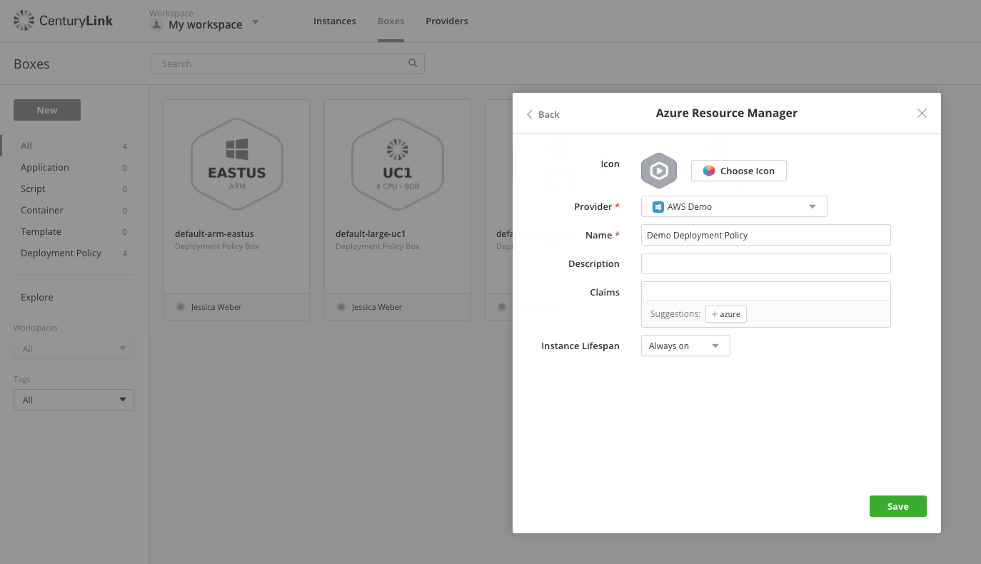 Cloud Application Manager allows automated provisioning of AWS and Azure cloud services.