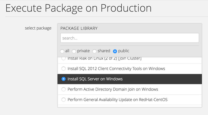 Execute Custom Predefined Packages On Servers