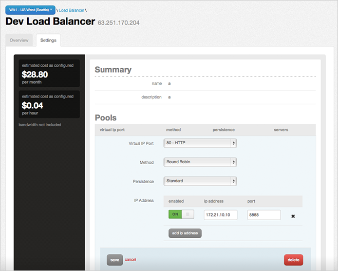 Cloud Load Balancer Portal
