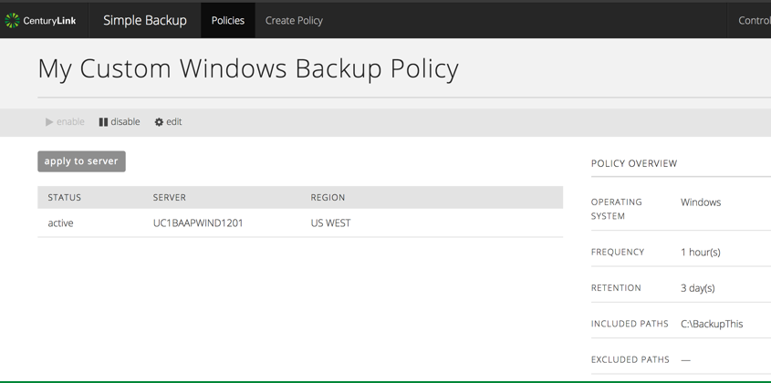 Screenshot of a simple backup policy that has been applied to many servers