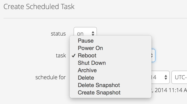 restart, power off/on, archive, snapshot, delete
