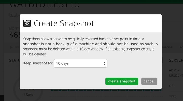Take snapshots of your cloud servers for quick reference