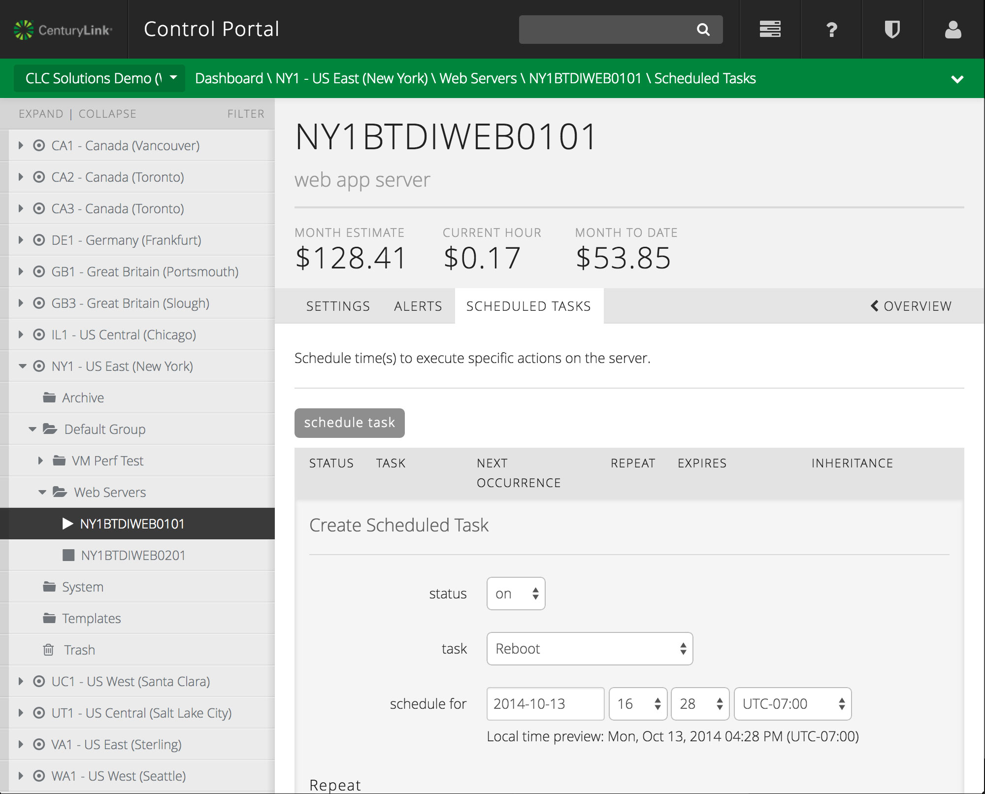 CenturyLink Cloud Control Portal has powerful scheduled tasks for cloud servers