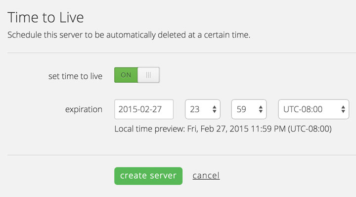 Set cloud server expiration dates