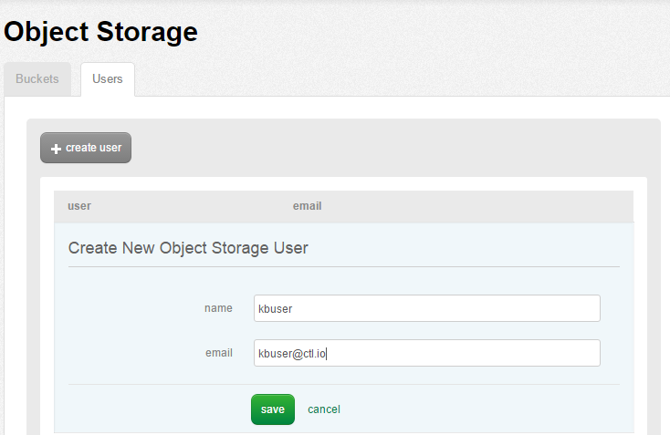 Create a new Object Storage user