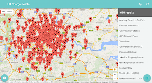 UK Chargepoints map