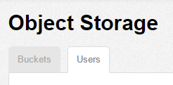 Object Storage Users tab