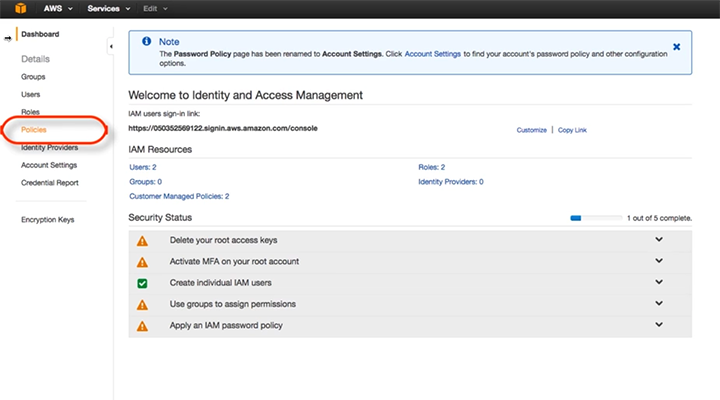 Cloud Application Manager AWS Create Policy Step 1