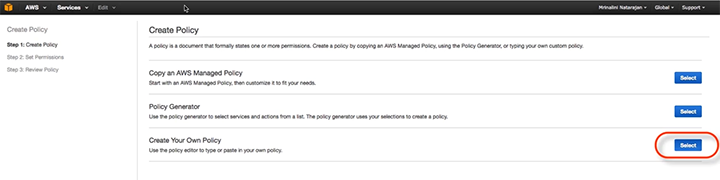 Cloud Application Manager AWS Create Policy Step 2