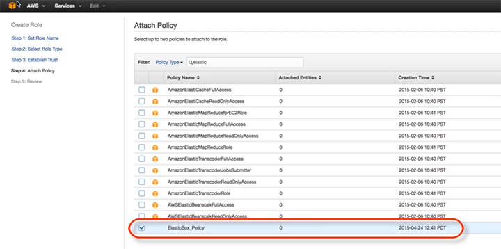 Cloud Application Manager AWS Attach Policy