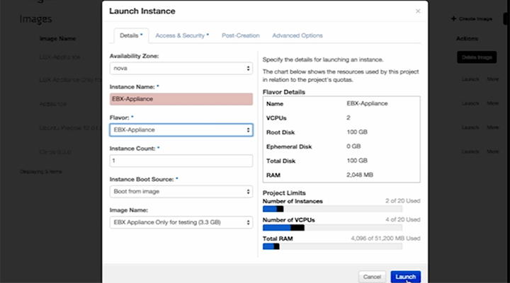 Cloud Application Manager OpenStack Launch Instance