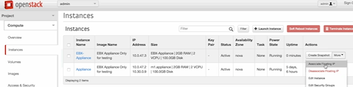 Cloud Application Manager OpenStack Instance Settings