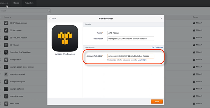 Connecting Your AWS Account in Cloud Application Manager