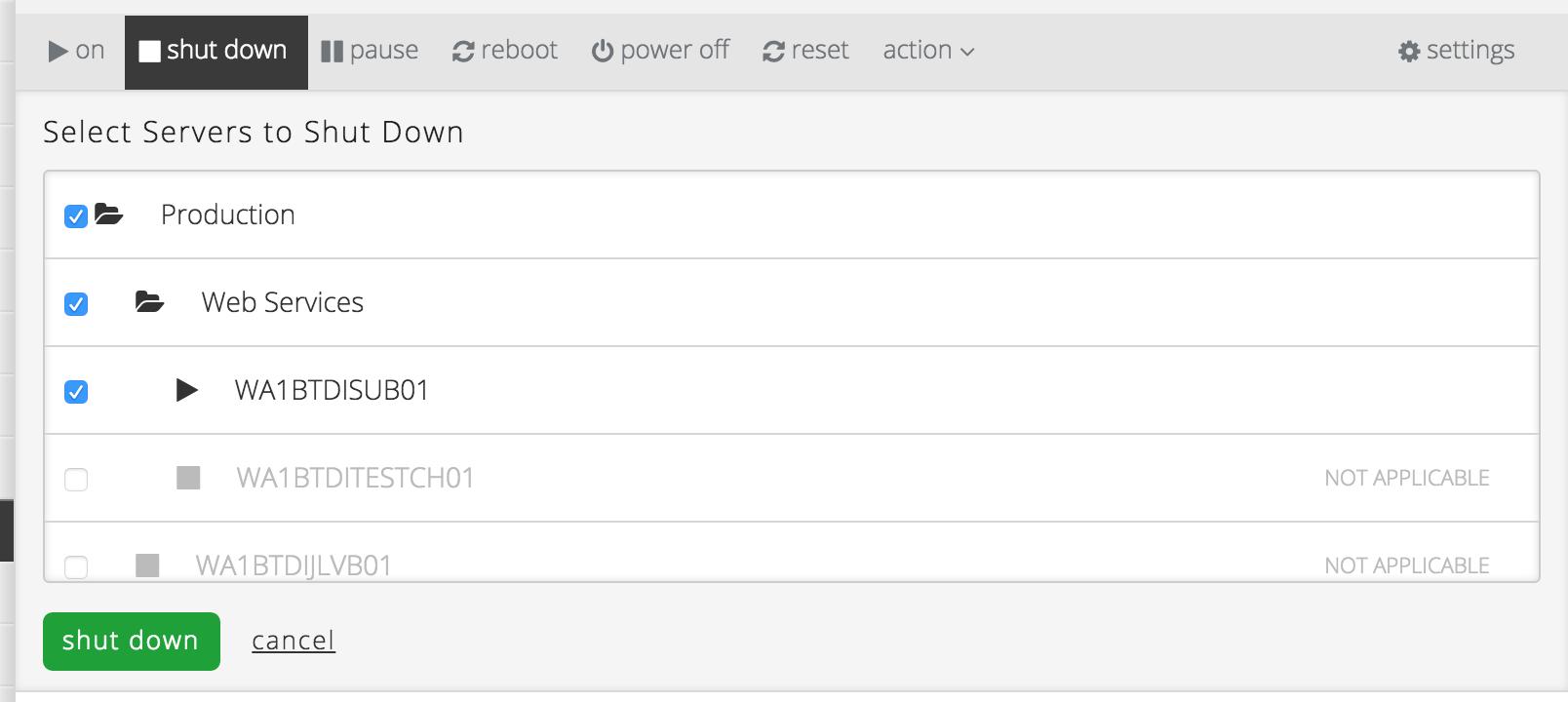 Server Power Operations in der CenturyLink Cloud