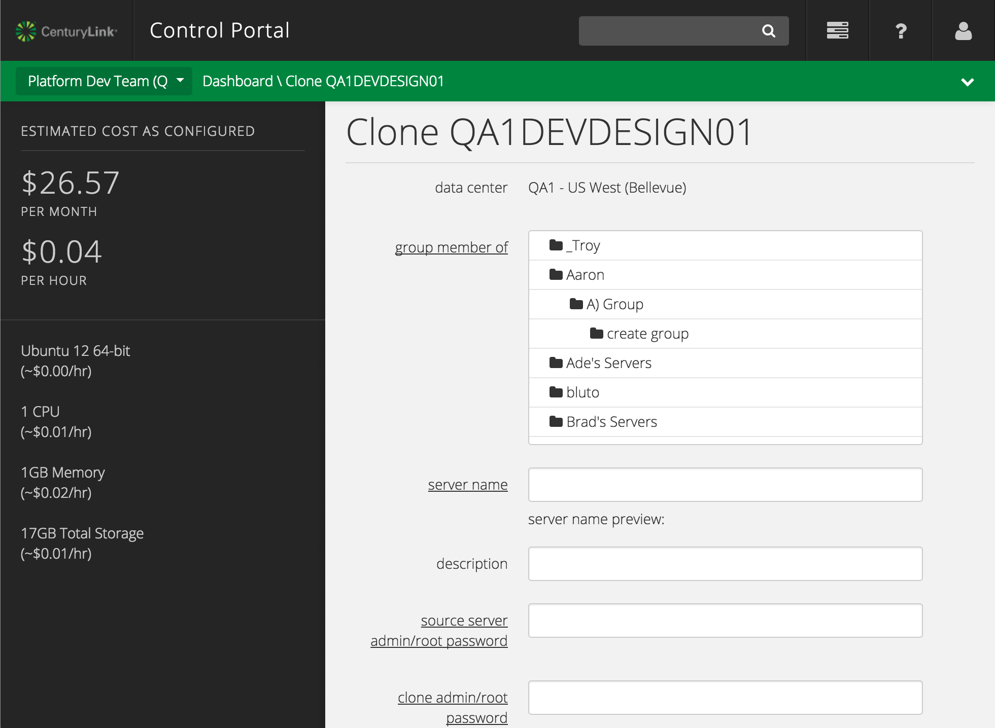 clone server form