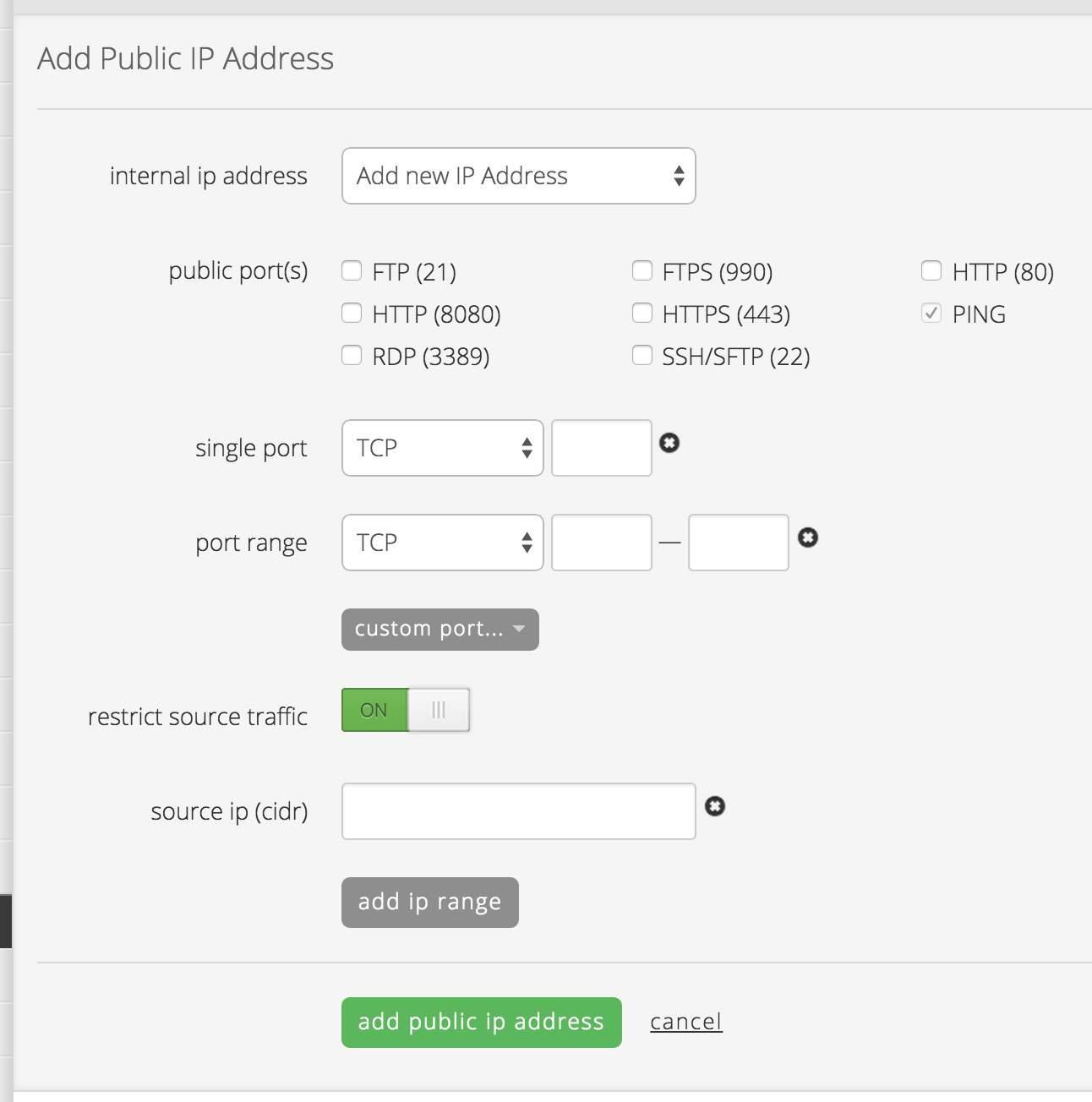 Add a public ip address to a server in the Control Portal