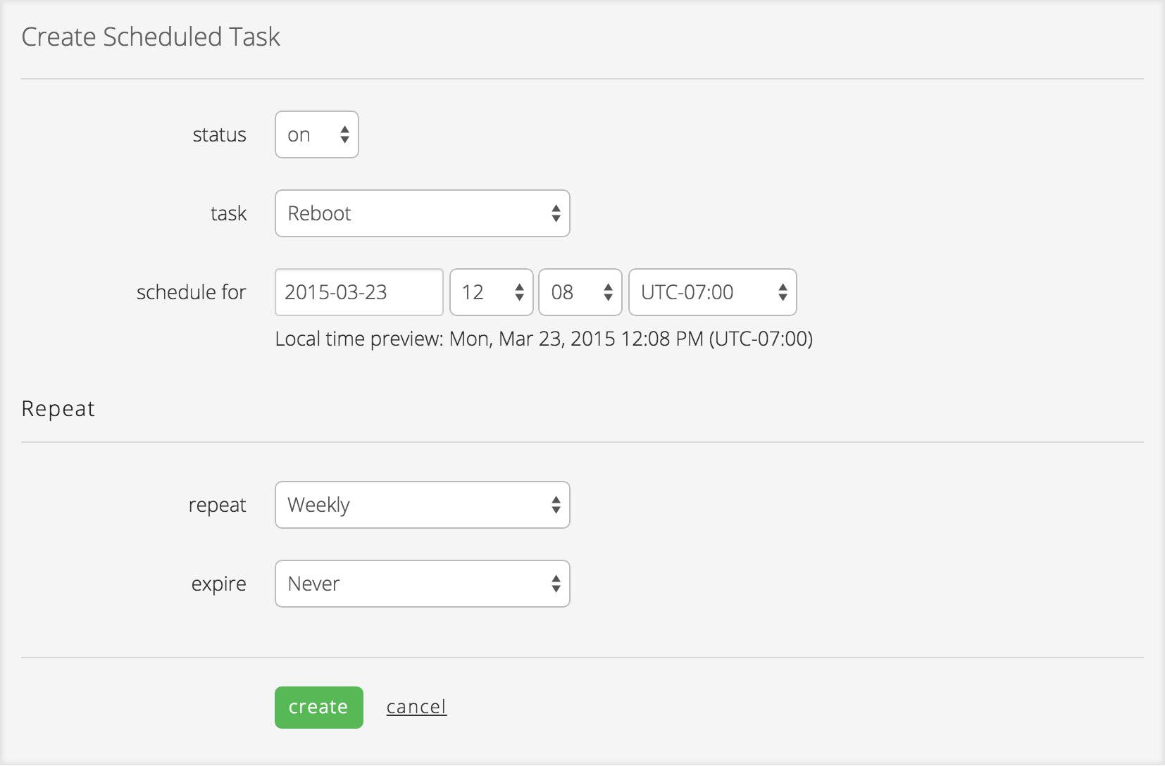 Create scheduled task form