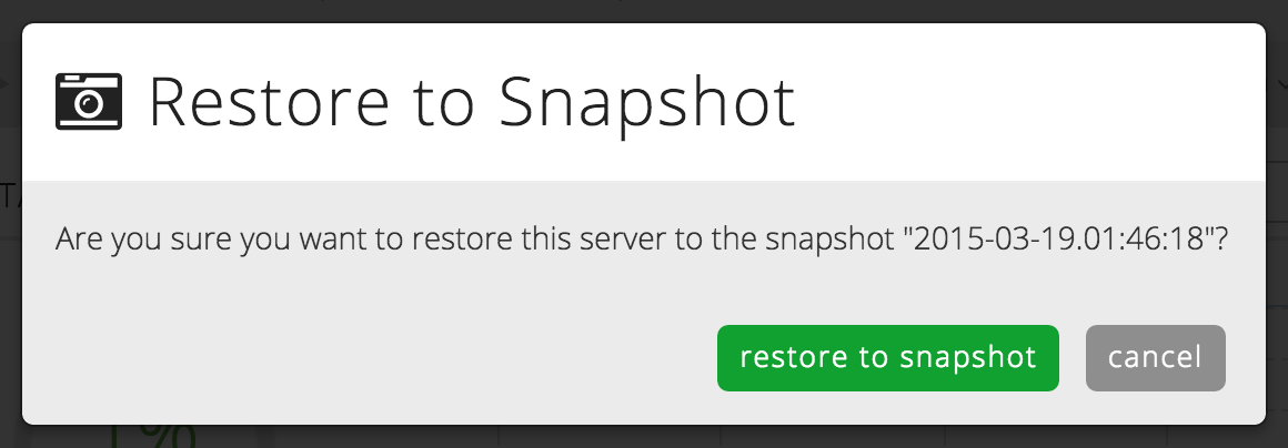 Restore a snapshot in the Control Portal