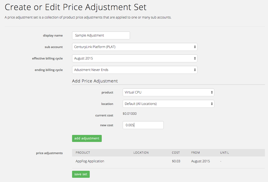 Set Your Own Price - Edit Adjustments
