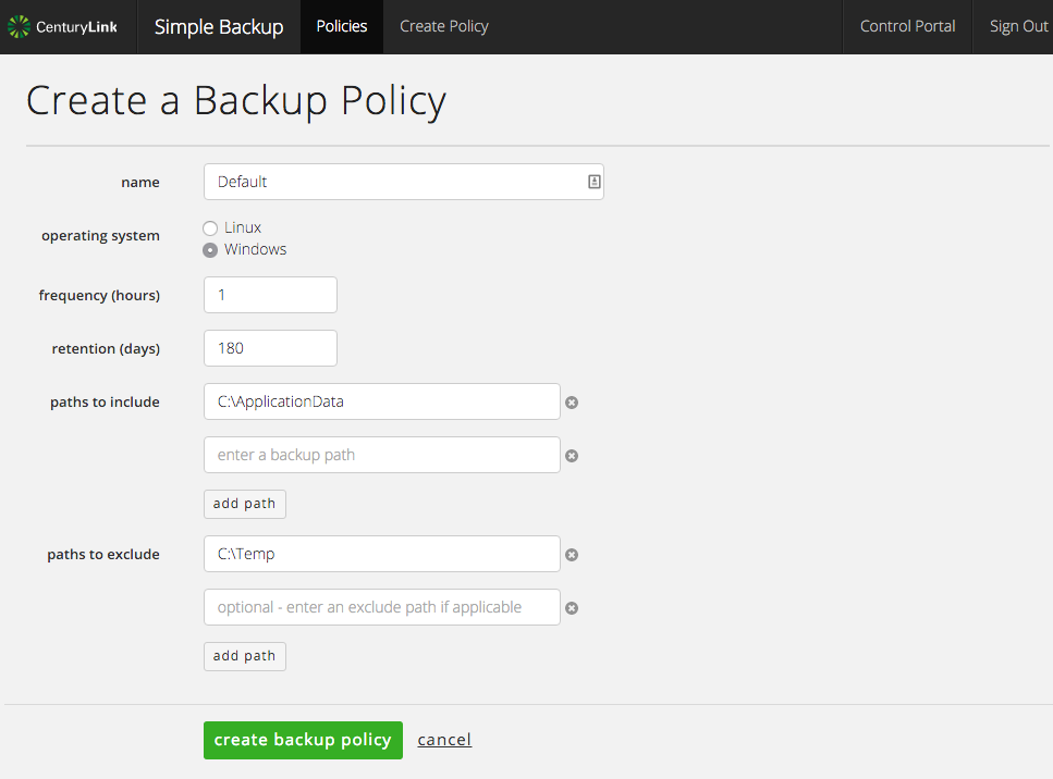 Simple Backup Service Policy