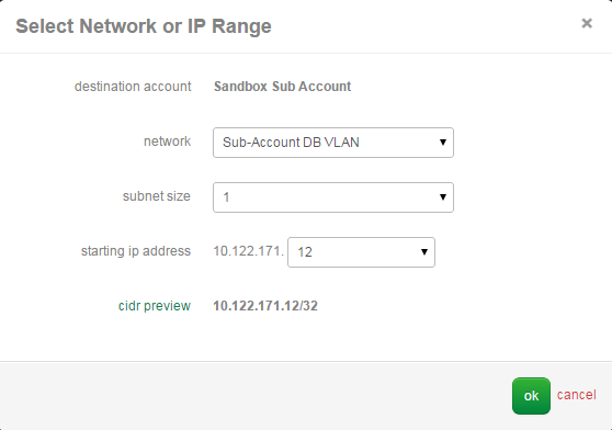 Select Destination Network or IP