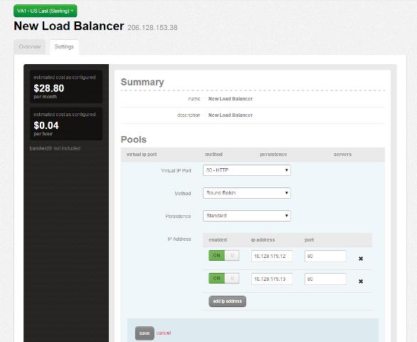 Pool options for load balancer
