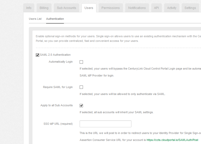 Using saml for single sign on to the centurylink platform control log into the centurylink cloud control portal and under account menu select the users tab switch to the authentication sub section and check the box publicscrutiny Choice Image