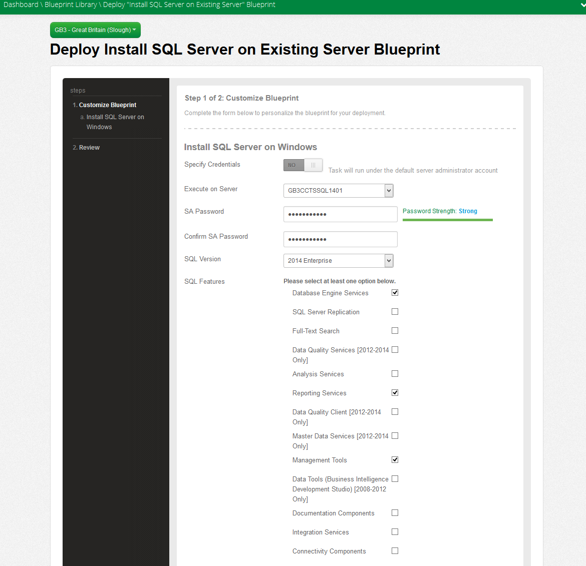 Deploy Install SQL Server on Existing Server Blueprint