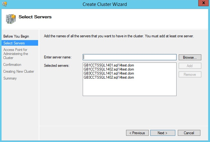 Add SQL servers into Failover Cluster