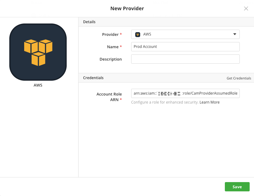 Cloud Application Manager new AWS Provider dialog