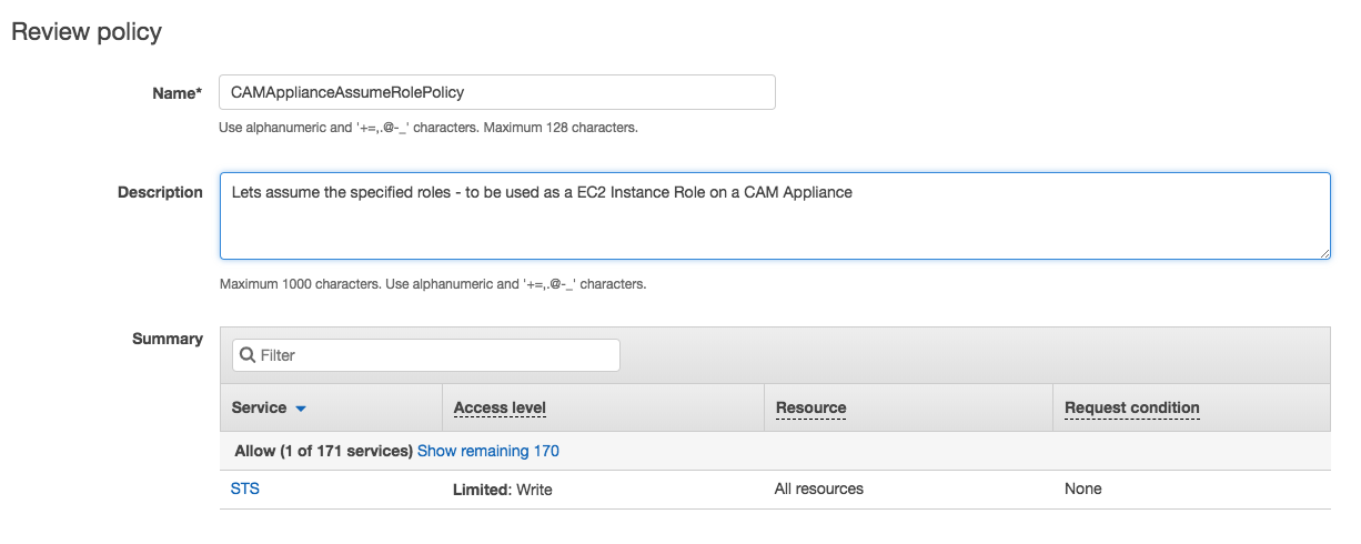 AWS Console Assume Role Policy Review