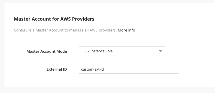 Cloud Application Manager Data Center Edition Master Account with EC2 Instance Role