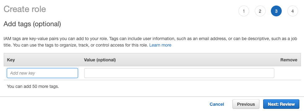AWS Console Role tags