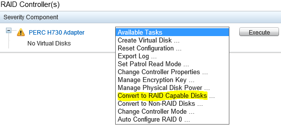 Convert to RAID capable disks