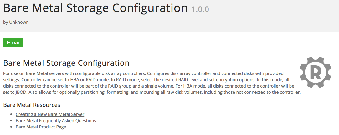 Run Bare Metal Storage Configuration