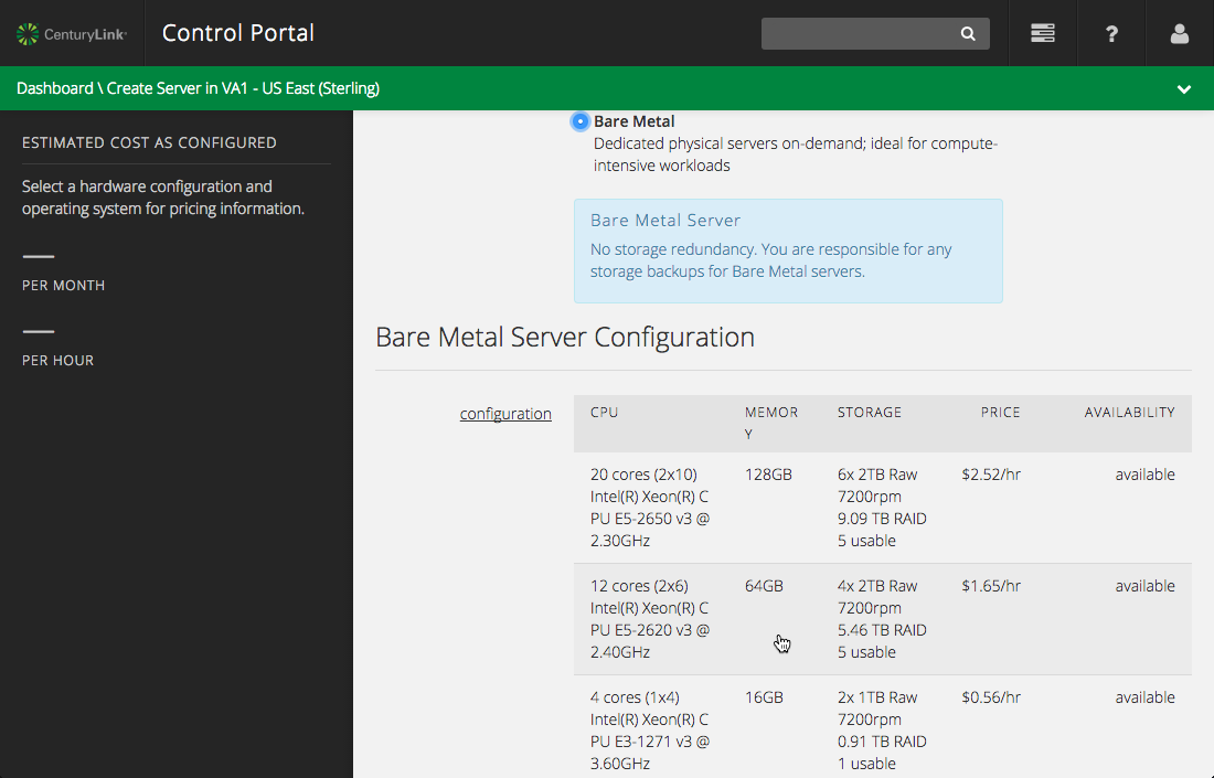 Create a New Bare Metal Server