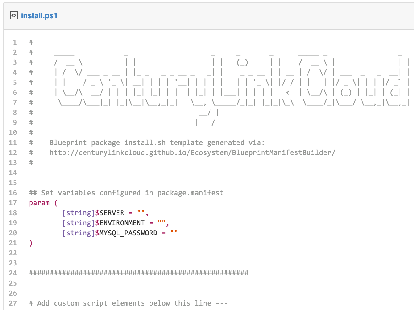 Blueprint package manifest builder wizard centurylink cloud click the export powershell template button to access a powershell shell script template customized to use the parameters defined in your project malvernweather Gallery