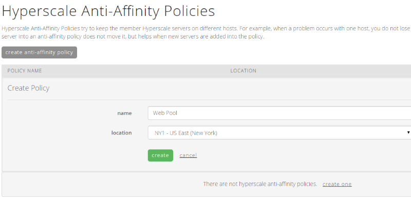 Create anti-affinity policy