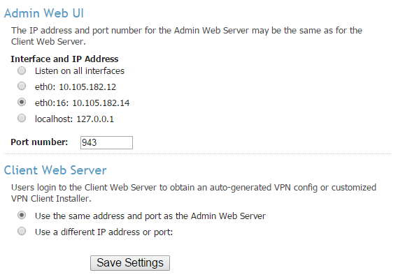 Admin Web UI Configuration