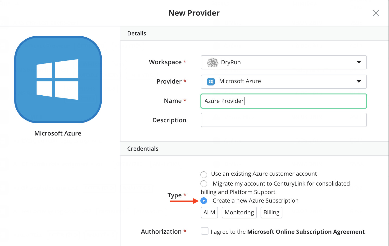 Create New Azure Account