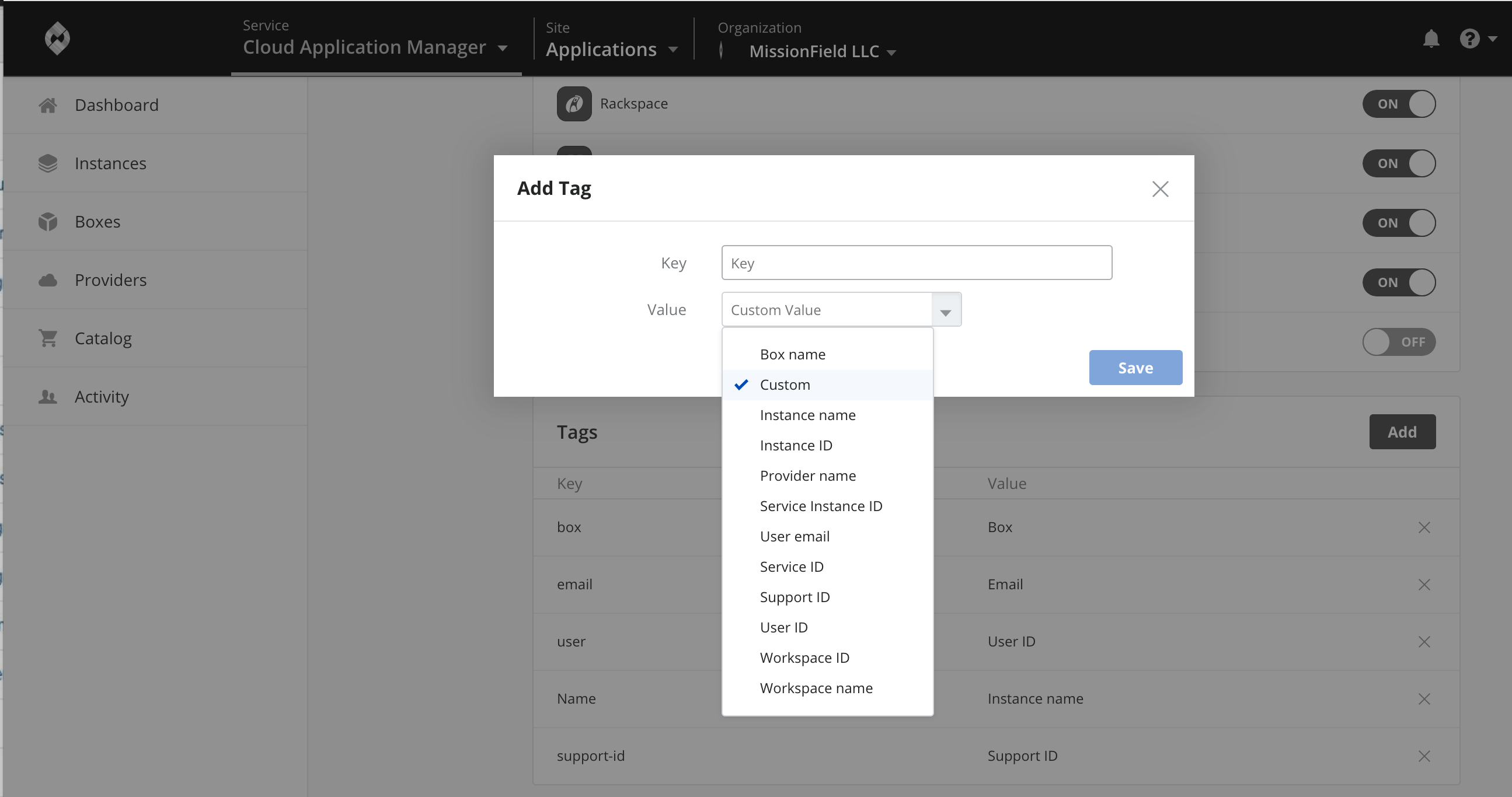 Setting Add Tags