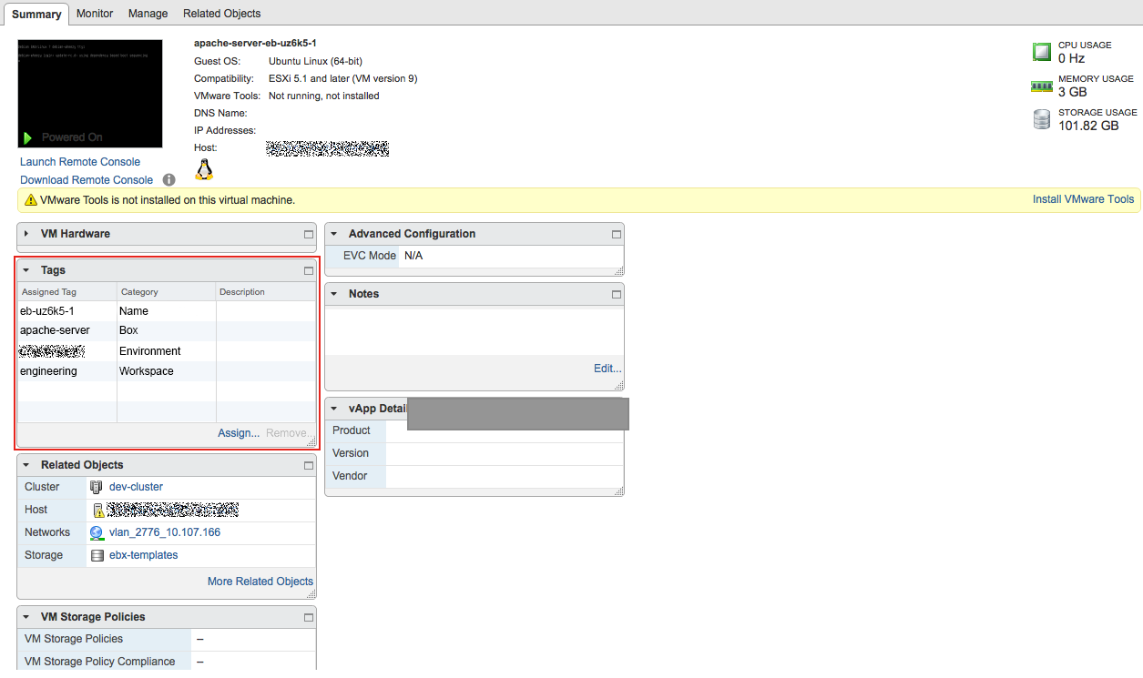 Add Tag Instance vSphere