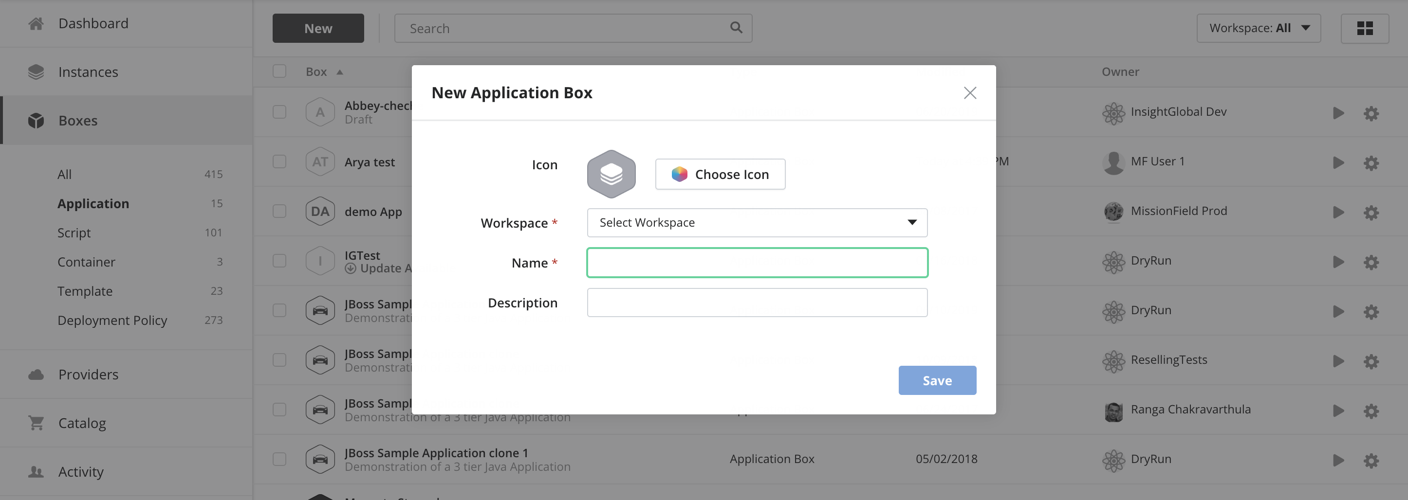 New Application Box data