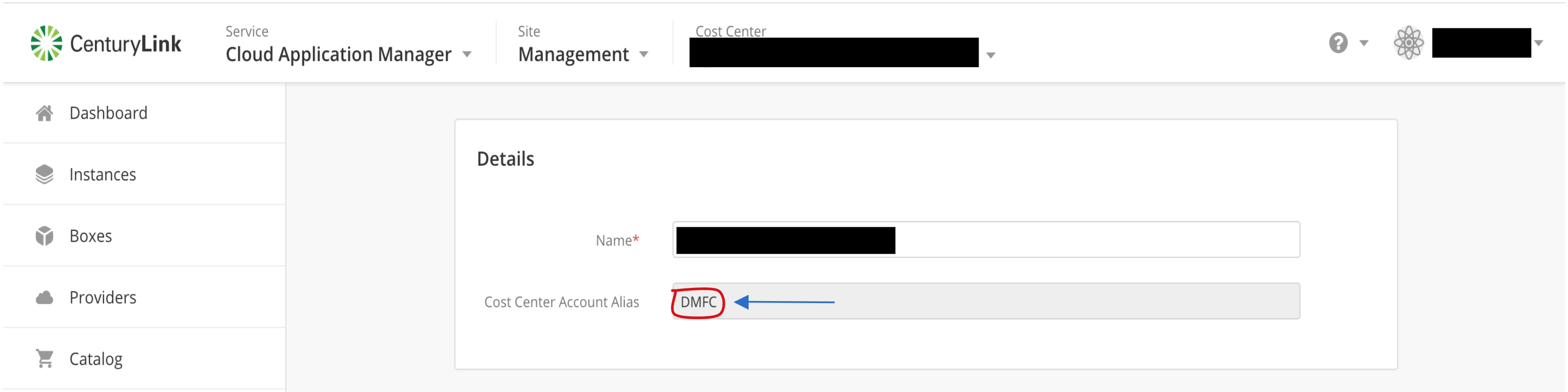 Cost Center Account Alias